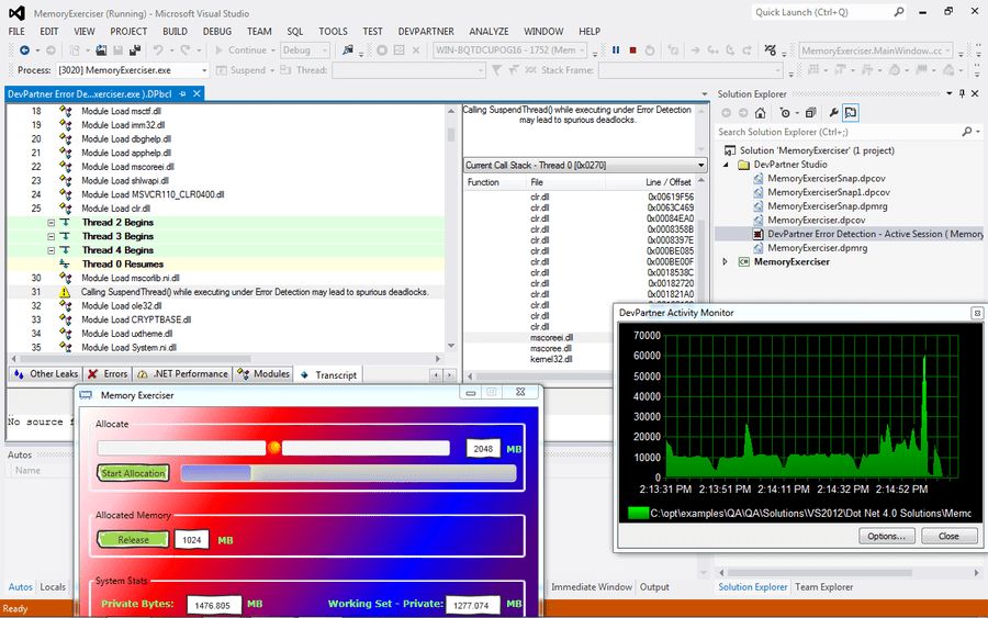 Screenshot von DevPartner for Visual C++ BoundsChecker Suite, Concurrent Users