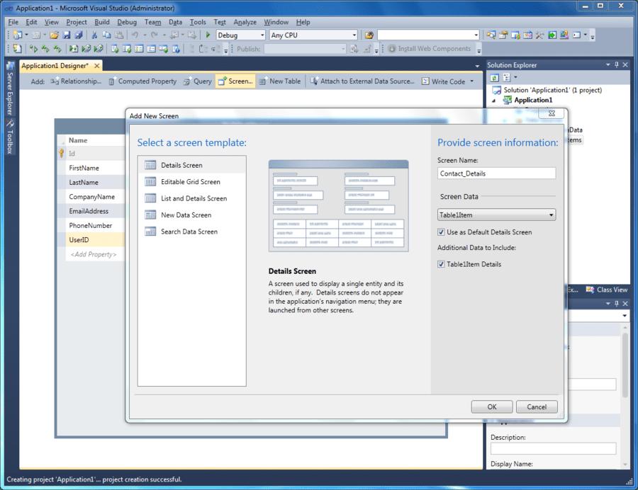 Microsoft Visual Studio LightSwitch 2011 스크린샷