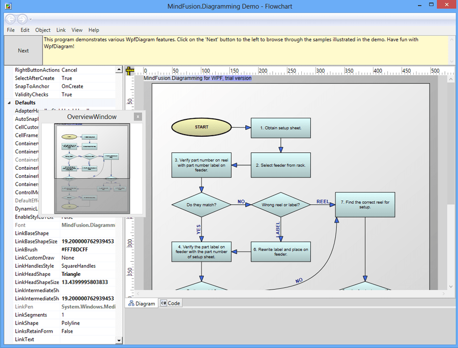Screenshot of MindFusion.Diagramming for WPF