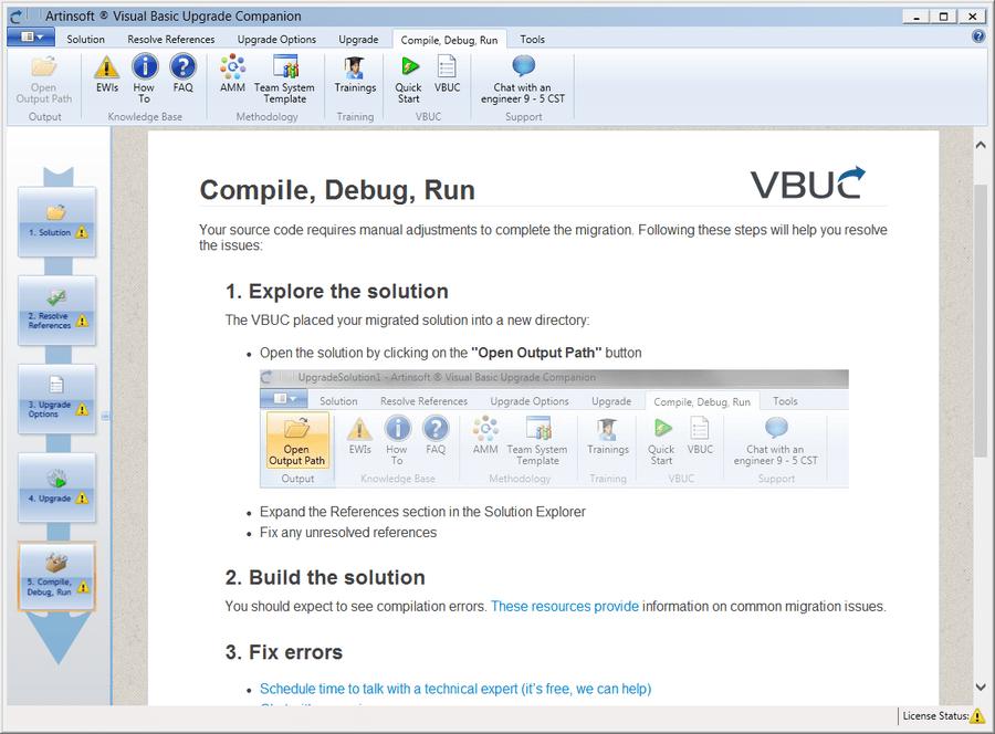 Screenshot of Visual Basic Upgrade Companion