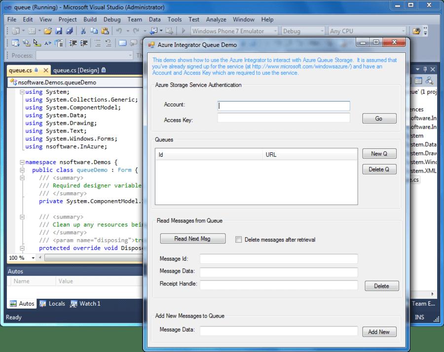 Screenshot of Azure Integrator C++ Edition