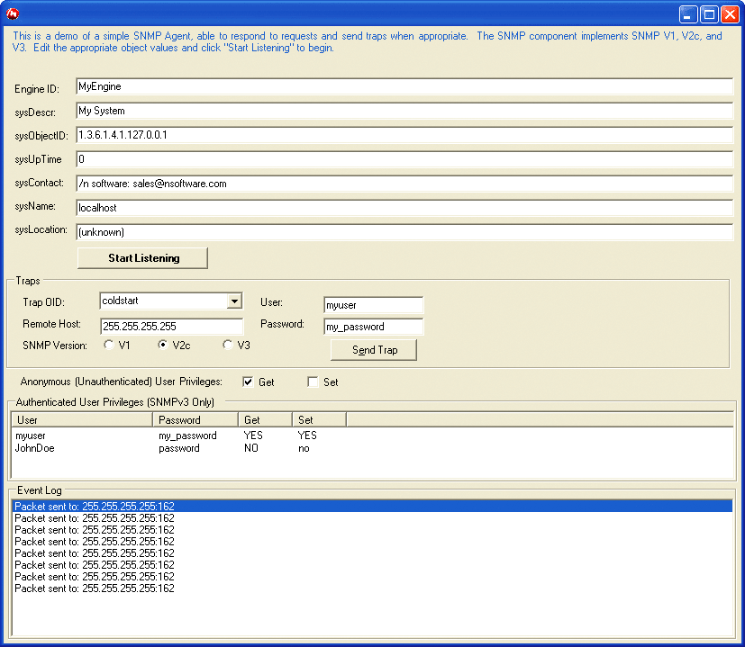 Screenshot of IP*Works! Secure SNMP .NET Edition