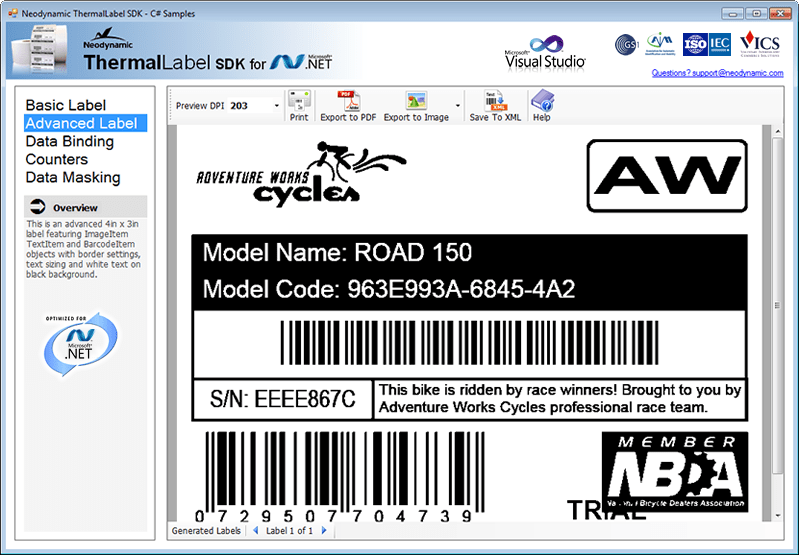 Screenshot of ThermalLabel SDK for .NET