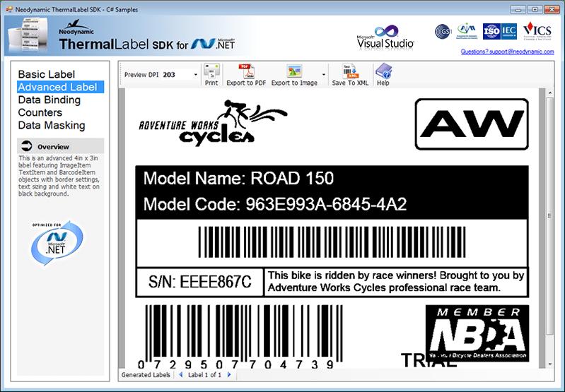 Screenshot of ThermalLabel SDK for .NET