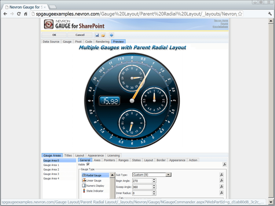 Captura de pantalla de Nevron Gauge for SharePoint