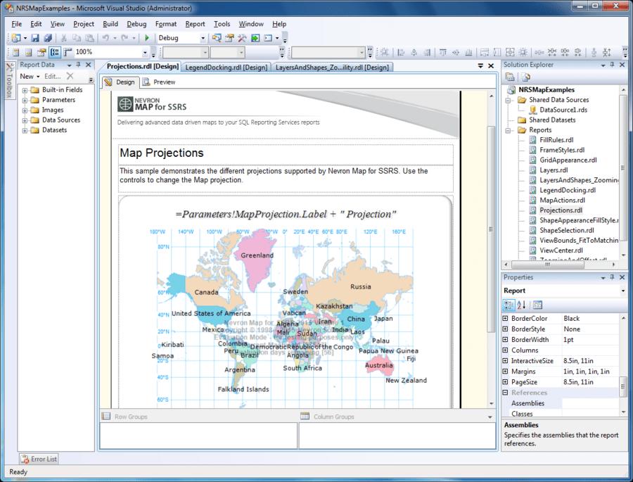 Captura de pantalla de Nevron Map for SSRS
