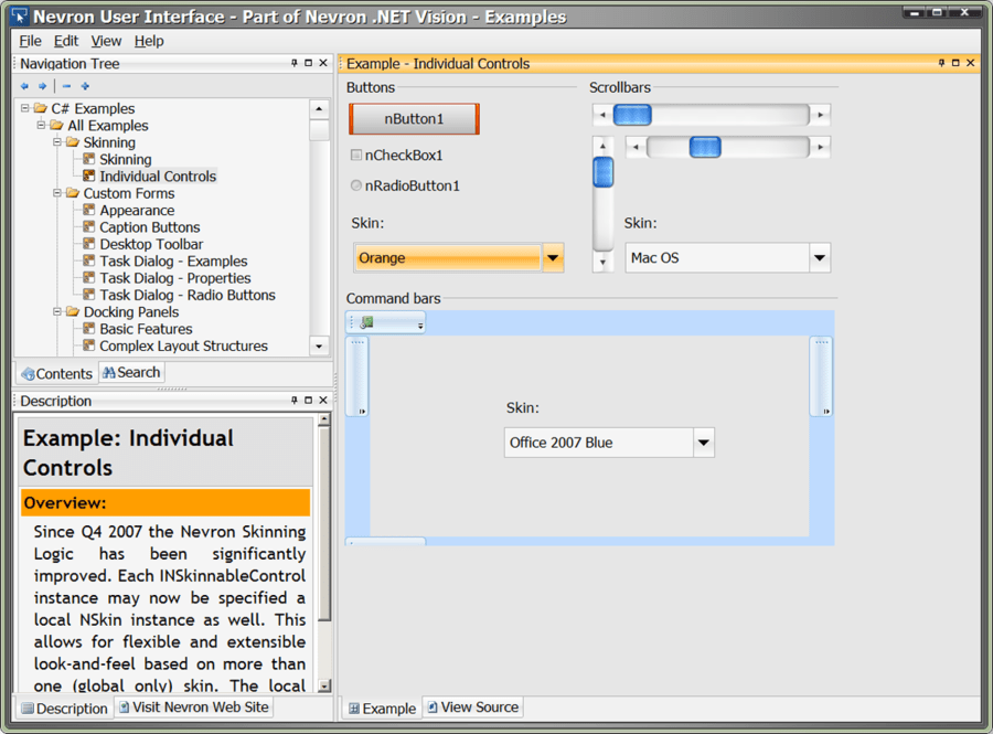 Captura de pantalla de Nevron User Interface Suite for .NET - Professional