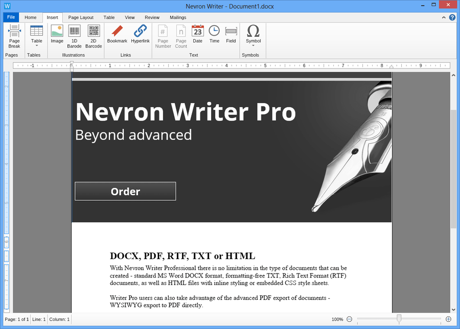 Screenshot of Nevron Writer