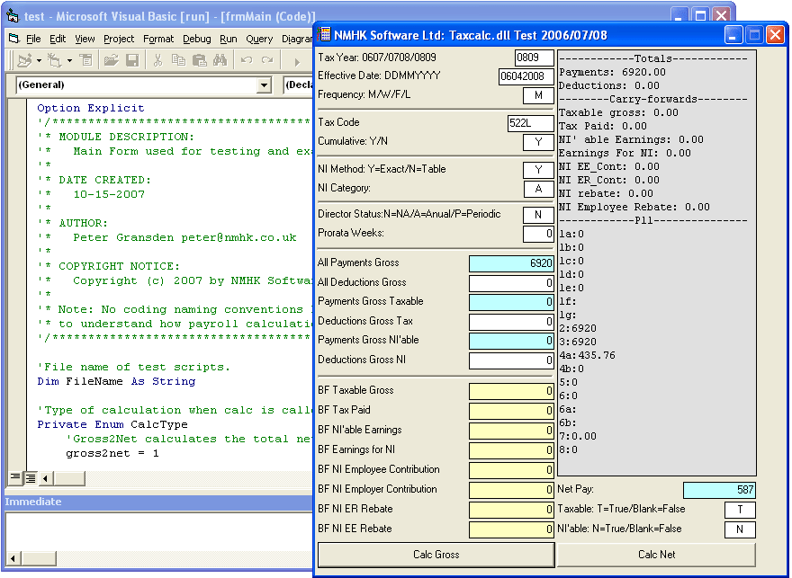 Screenshot of Timesaver:TaxCalc ActiveX DLL