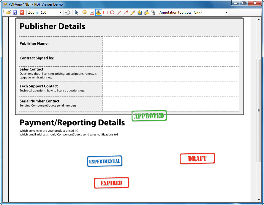 Screenshot of PDFView4NET Windows Forms Edition