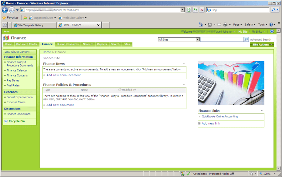 Screenshot of Office Talk Finance Templates for SharePoint