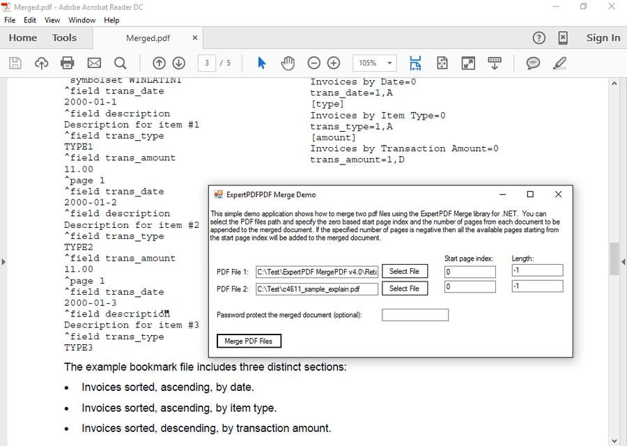 Screenshot of ExpertPDF MergePDF