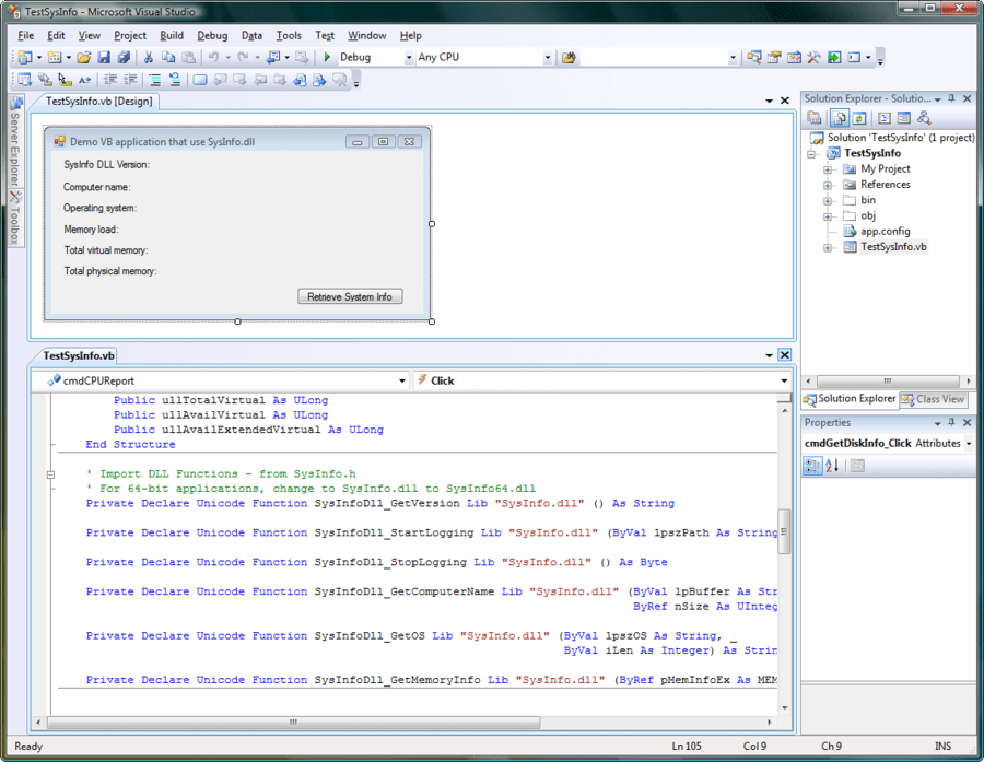 Screenshot of SysInfo DLL SDK