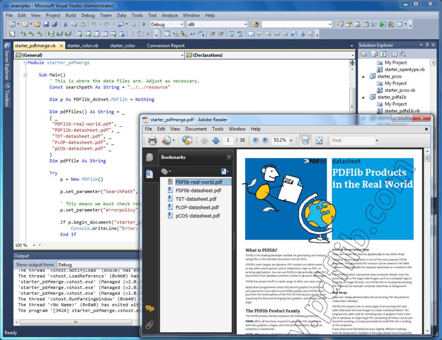 Capture d'écran de PDFlib