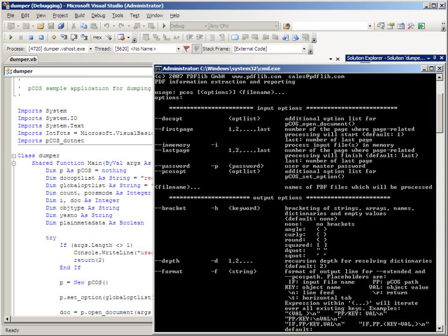 Screenshot of PDFlib pCOS