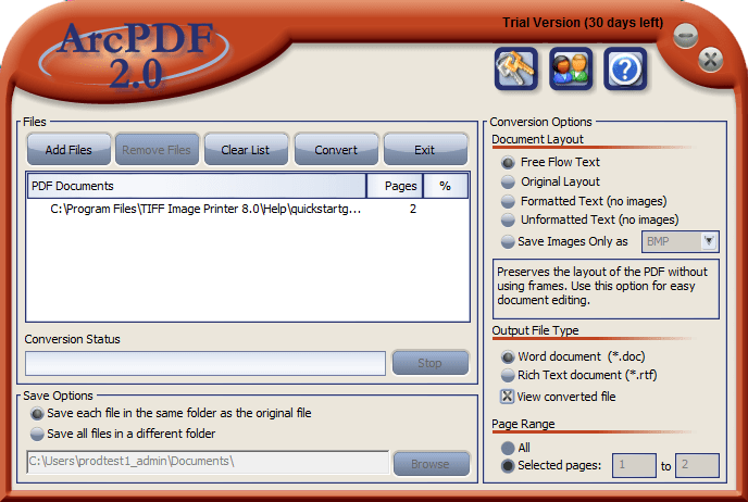 Screenshot of ArcPDF
