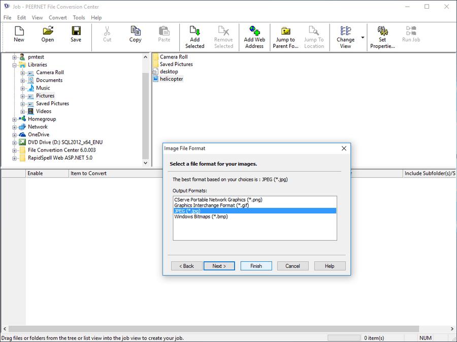 Captura de pantalla de PEERNET File Conversion Center