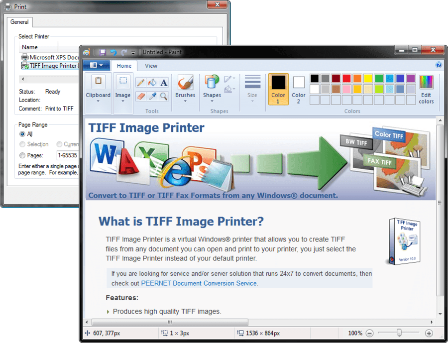 Screenshot of TIFF Image Printer