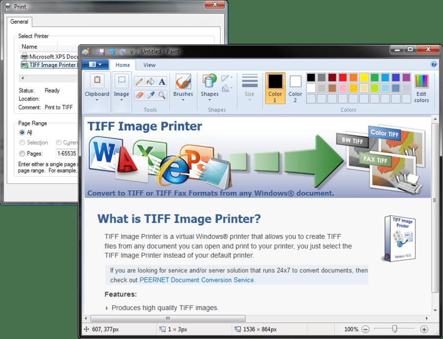 Screenshot of TIFF Image Printer