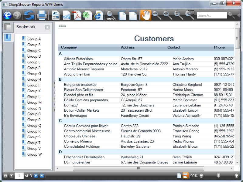 Screenshot of SharpShooter Reports.WPF