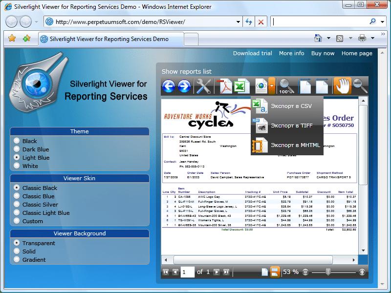 Captura de tela do Silverlight Viewer For Reporting Services