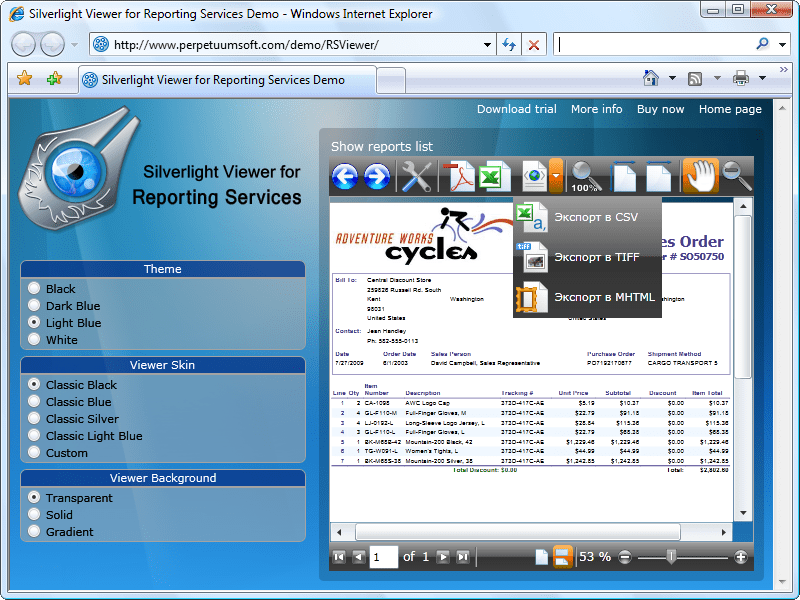 Captura de tela do Silverlight Viewer For Reporting Services