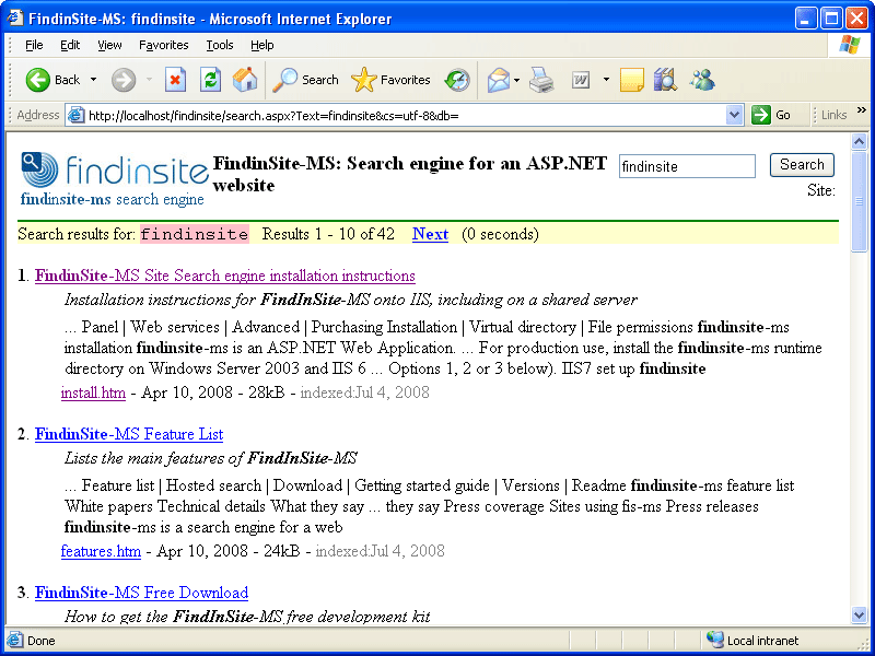 Screenshot of FindinSite-MS