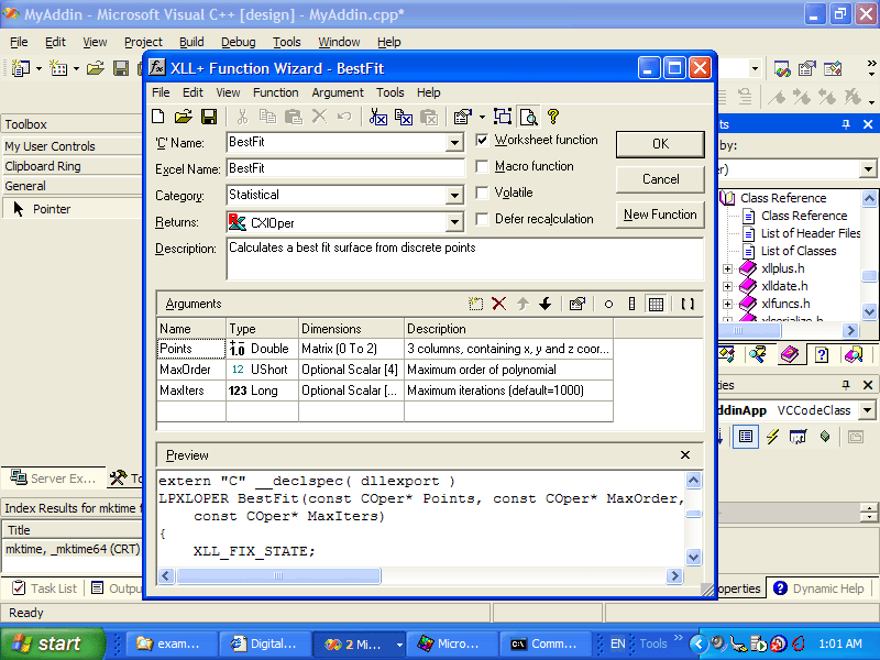 Screenshot of XLL Plus for Visual Studio 2005