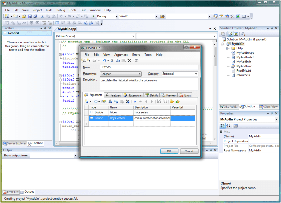 Screenshot of XLL Plus for Visual Studio 2008