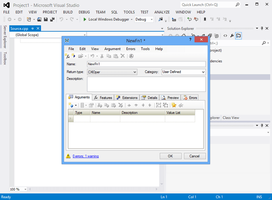 Screenshot of XLL Plus for Visual Studio 2015
