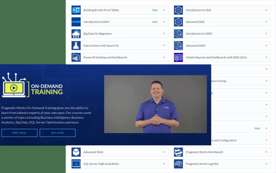 Screenshot of Pragmatic Works On-Demand Training