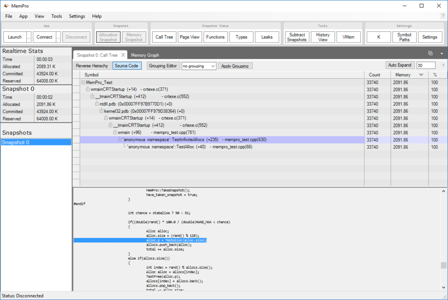 Screenshot of MemPro
