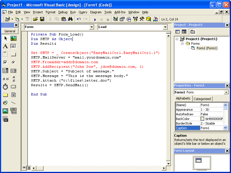 Screenshot of EasyMail Objects - Full Edition
