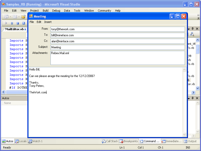 Screenshot of Rebex Mail for .NET