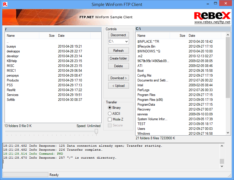 Captura de pantalla de Rebex Total Pack