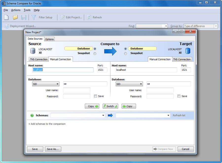 Screenshot of Schema Compare for Oracle