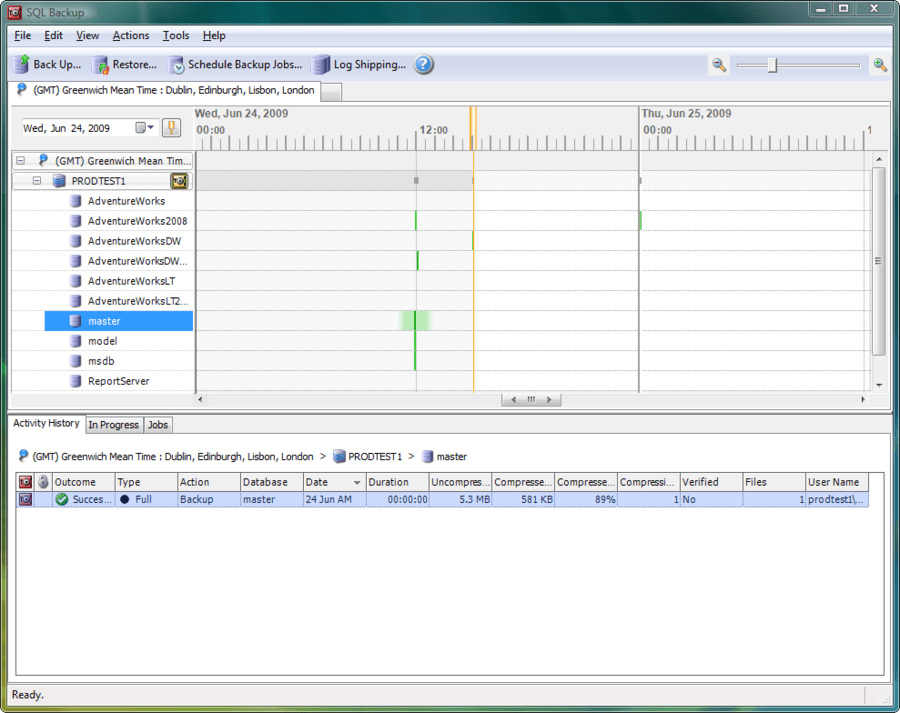 Screenshot of SQL Backup Pro