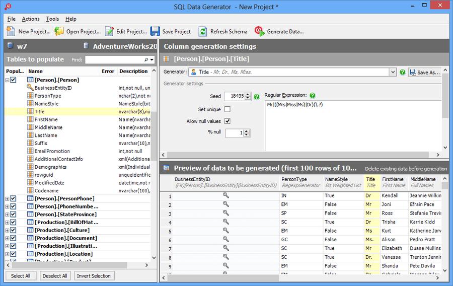 Screenshot of SQL Data Generator