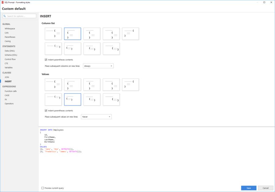 Screenshot of SQL Prompt Pro