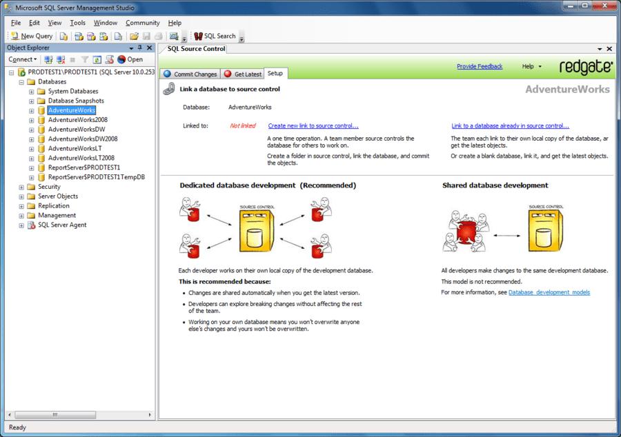 Capture d'écran de SQL Source Control