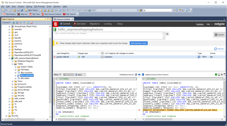 Screenshot of SQL Source Control