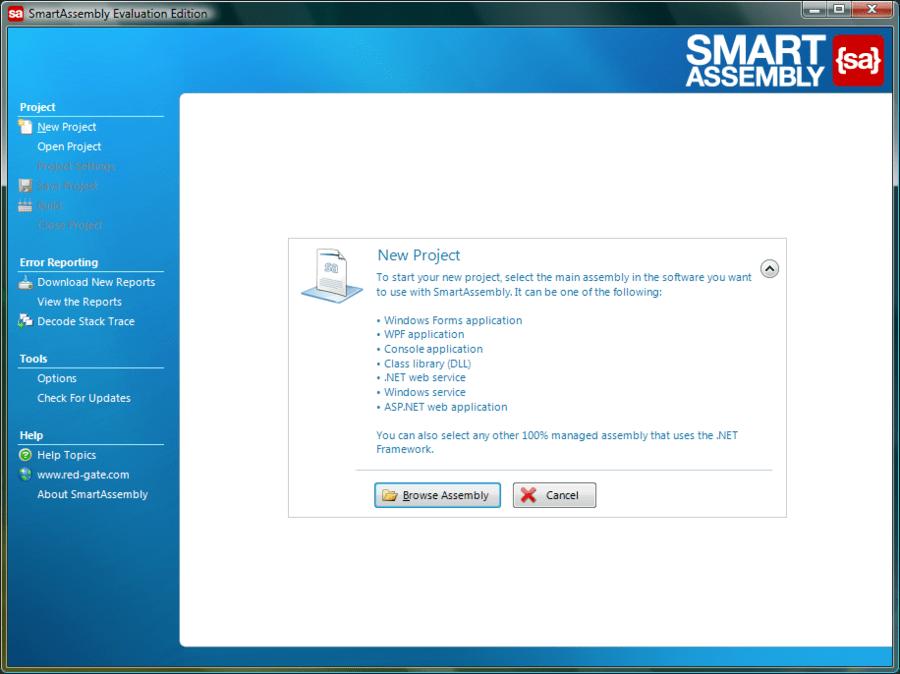 Screenshot of SmartAssembly Pro