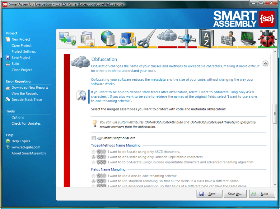 Screenshot of SmartAssembly