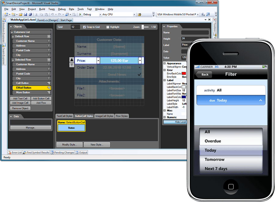 Screenshot of Resco MobileApp Studio iOS Edition