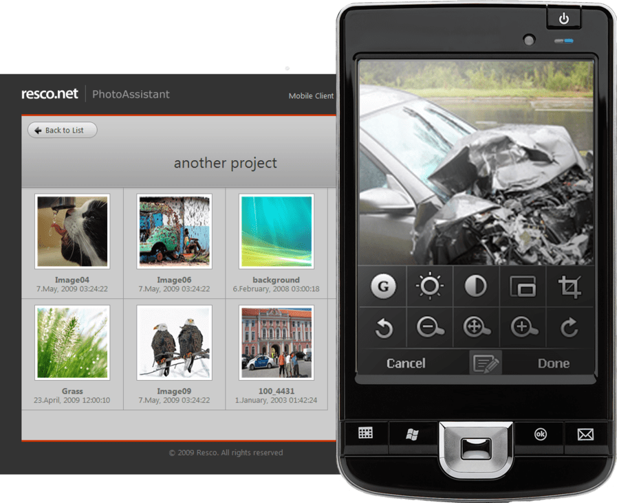 Screenshot of Resco PhotoAssistant ESP
