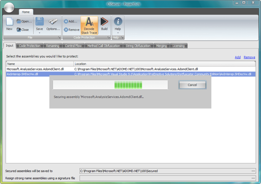 Screenshot of CliSecure