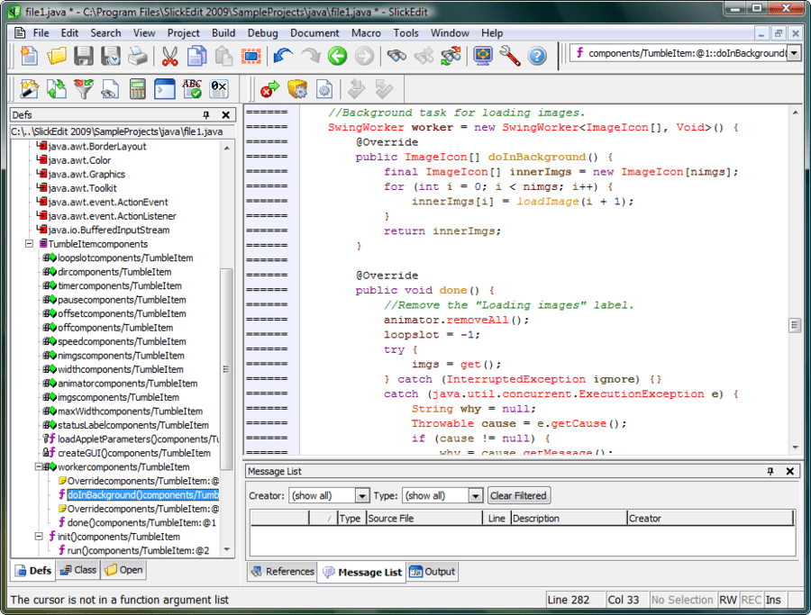 Screenshot of SlickEdit for Solaris x86