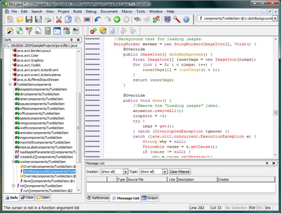 Screenshot of SlickEdit for Windows and Solaris x86