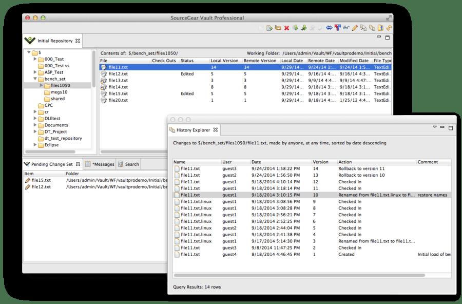 Screenshot of SourceGear Vault Professional