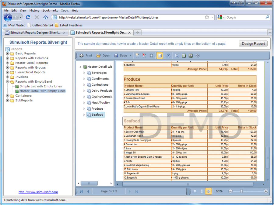 Screenshot of Stimulsoft Reports Designer.Silverlight